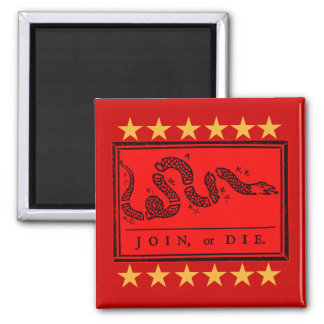 Join or Die Ben Franklin Banner on Tshirts 2 Inch Square Magnet