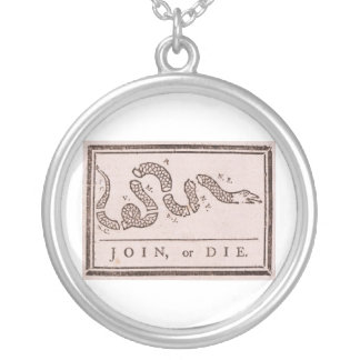 Join or Die Benjamin Franklin Political Cartoon Silver Plated Necklace