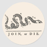 Join or Die Classic Round Sticker