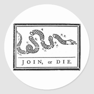 Join, or Die Classic Round Sticker