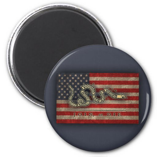Join, Or Die -Flag 2 Inch Round Magnet