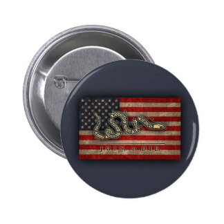 Join, Or Die -Flag Pinback Button