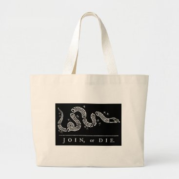 USA Themed Join Or Die Large Tote Bag