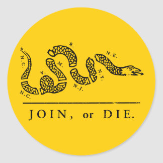 Join or Die - Libertarian Classic Round Sticker