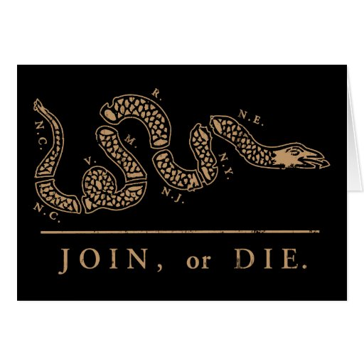 Join Or Die - Libertarian Greeting Card