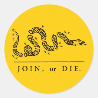 Join or Die - Libertarian Round Sticker