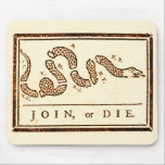 """Join or Die Mouse Pad<br><div class=""""desc"""">Benjamin Franklin&#39;s political cartoon JOIN,  or DIE recreated with an aged look.</div>"""