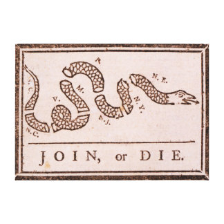 Join or Die ORIGINAL Benjamin Franklin Cartoon Canvas Print