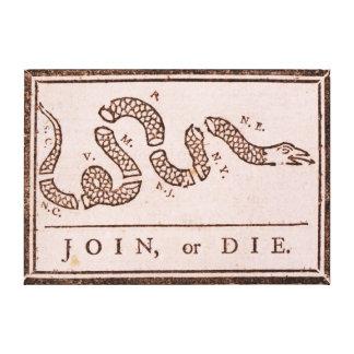 Join or Die ORIGINAL Benjamin Franklin Cartoon Canvas Print