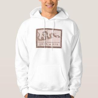 Join or Die ORIGINAL Benjamin Franklin Cartoon Hooded Sweatshirt