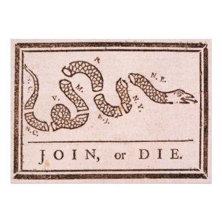 Join or Die ORIGINAL Benjamin Franklin Cartoon Photo Print
