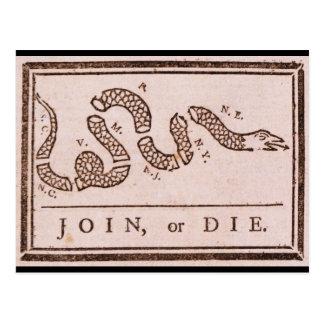 Join or Die ORIGINAL Benjamin Franklin Cartoon Postcard