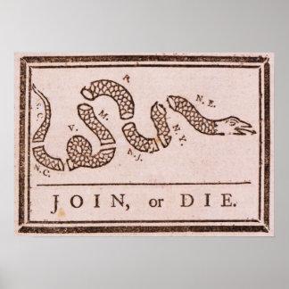 Join or Die ORIGINAL Benjamin Franklin Cartoon Poster