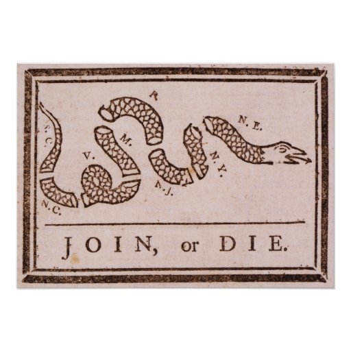 Join or Die ORIGINAL Benjamin Franklin Cartoon Print