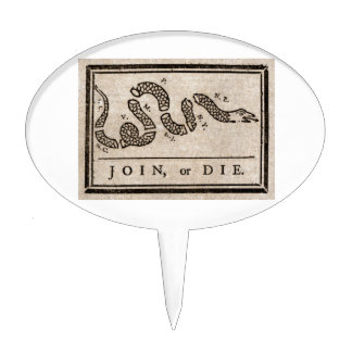 Join or Die Political Cartoon by Benjamin Franklin Cake Topper