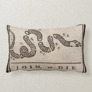 Join or Die Political Cartoon by Benjamin Franklin Lumbar Pillow