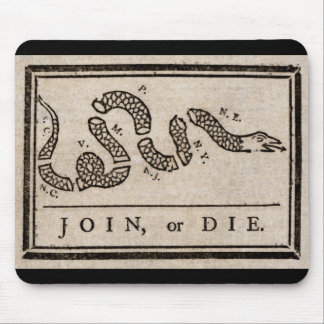 Join or Die Political Cartoon by Benjamin Franklin Mouse Pad