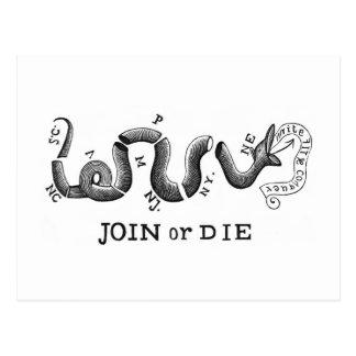 """Join or Die"" Revolutionary Patriot Logo Postcard"