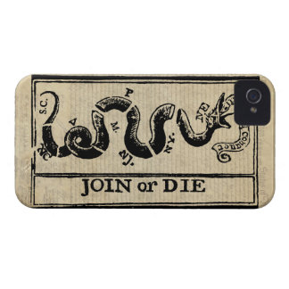Join Or Die Woodcut on Declaration of Independence Case-Mate iPhone 4 Cases