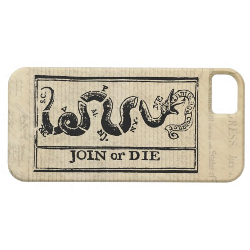 Join Or Die Woodcut on Declaration of Independence iPhone 5 Cover