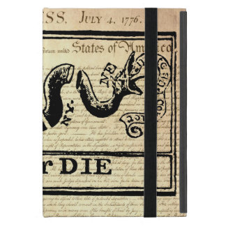 Join Or Die Woodcut on Declaration of Independence Cover For iPad Mini