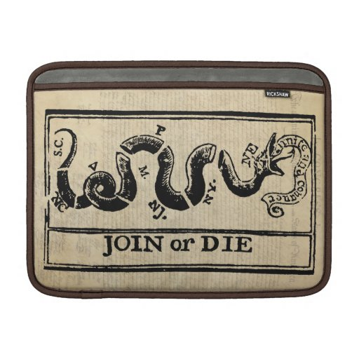 Join Or Die Woodcut on Declaration of Independence MacBook Sleeve