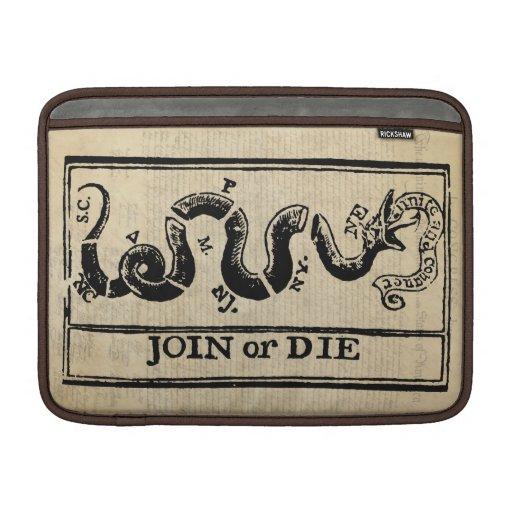 Join Or Die Woodcut on Declaration of Independence MacBook Sleeve