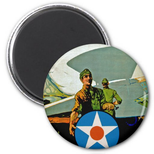 Join The Air Service ~ Give 'Er The Gun Refrigerator Magnet