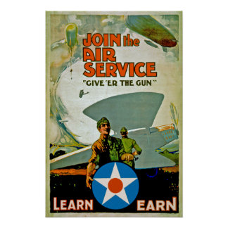 Join The Air Service Give Er The Gun Poster
