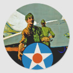 Join The Air Service ~ Give 'Er The Gun Round Stickers