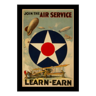 """Join The Air Service """"Learn-Earn"""" (Black Border) Poster"""