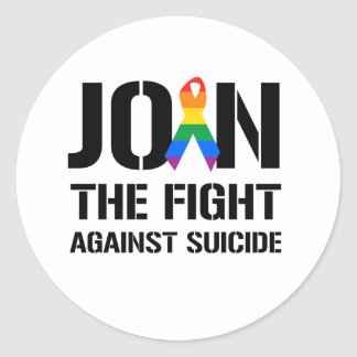 Join the fight against gay suicide classic round sticker