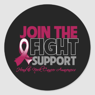 Join The Fight Support Head Neck Cancer Awareness Classic Round Sticker