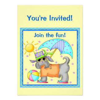 Join the Fun Dog Beach Pool BBQ Cookout Custom Announcement