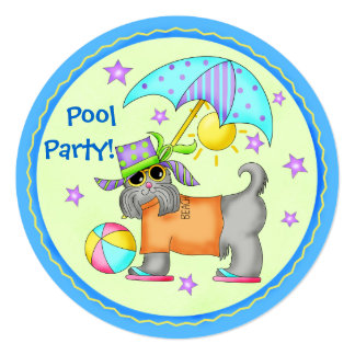 Join the Fun Dog Beach Pool Party Round Card