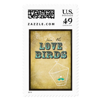 """""""Join the Lovebirds"""" Wedding postage stamps"""