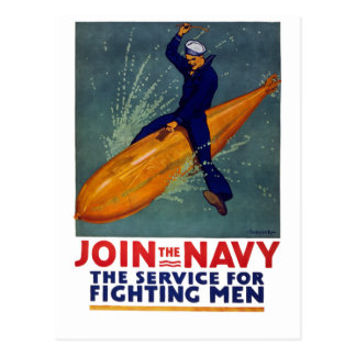 Join The NAVY - Sailor Riding Huge Bomb! Postcard