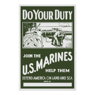 Join The US Marines -- WW2 Poster