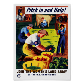 Join The Women's Land Army -- WWII Print
