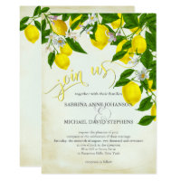 Join Us Watercolor Lemons and Greenery Wedding Invitation