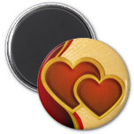 Joined Red Hearts 2 Inch Round Magnet
