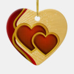 Joined Red Hearts Christmas Tree Ornament