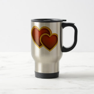 Joined Red Hearts 15 Oz Stainless Steel Travel Mug