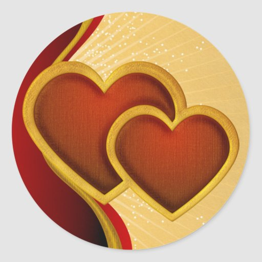 Joined Red Hearts Round Stickers