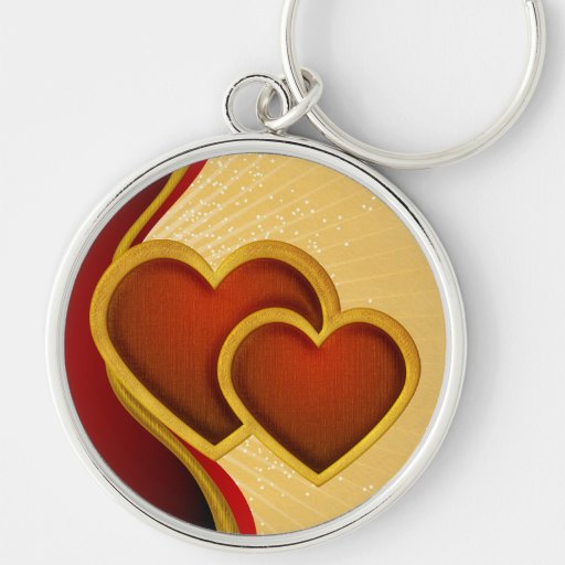 Joined Red Hearts Silver-Colored Round Keychain