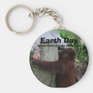 Joining Hands on Earth Day Basic Round Button Keychain
