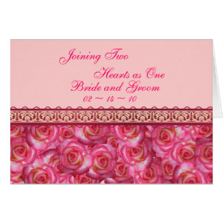 Joining Two Hearts Pink Rose Wedding Invitation Cards