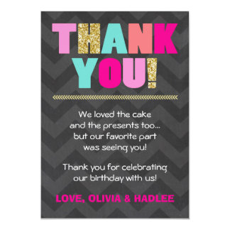 Joint birthday Thank you card Twins Pink Gold Mint