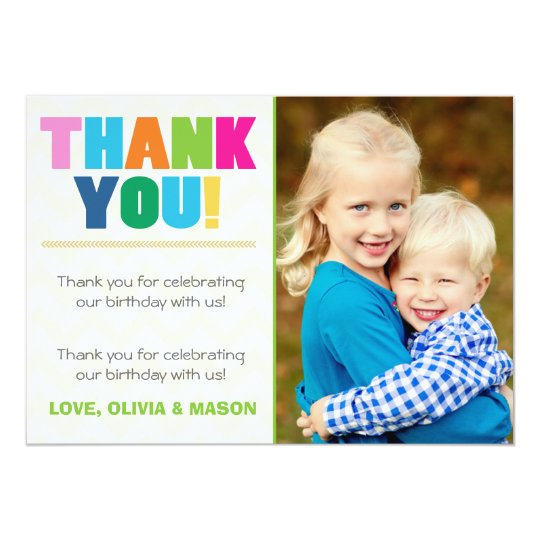 Joint Birthday Thank You Card Twins Rainbow Colors Zazzle