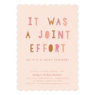 Captivating Joint Effort Coupleu0026#39;s Baby Shower Invitation Blush